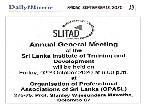 Annual General Meeting of  the Sri Lanka Institute of Training and Development